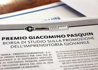 Friulovest Banca istituisce un'importante borsa di studio in memoria del direttore Giacomino Pasquin